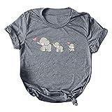 Damen-T-Shirt, modisch, Rundhalsausschnitt, niedlich, bedruckt mit Elefant, lässig, Outdoor-Sport, Oberteil, Alltag, große Größe m dunkelgrau