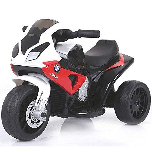 BAKAJI Moto Motocicletta Elettrica Bambini BMW s1000 rr Batteria 6V Ricaricabile Triciclo 3 Ruote Fari Funzionanti con Luci e Suoni Dimensione 66 x 37 x 44 cm (Rosso)