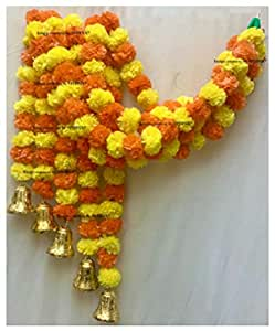SPHINX Artificial Marigold Fluffy Flowers And Hanging Bells Torans (Yellow And Dark Orange, Pack Of 5 Strings,5 ft Each )