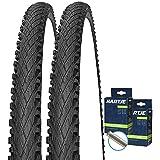 SET: 2 x Impac Crosspac SCHWARZ Fahrrad Reifen 24x2.00 / 50-507 + SCHLÄUCHE Autoventil