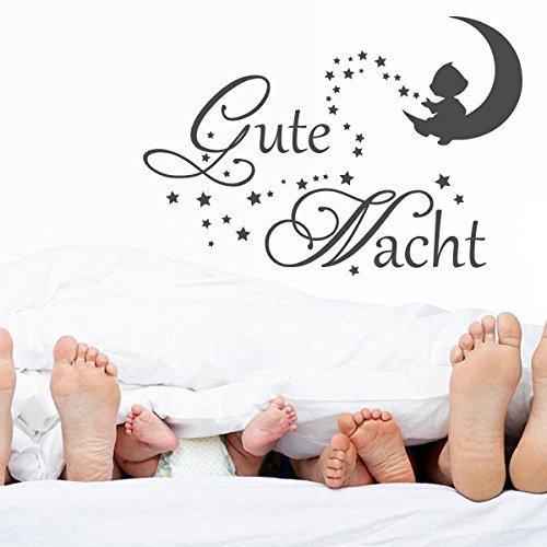 denoda® Gute Nacht - Wandtattoo Schwarz 110 x 75 cm (Wandsticker Wanddekoration Wohndeko Wohnzimmer Kinderzimmer Schlafzimmer Wand Aufkleber) (Gute Nacht Zitate)