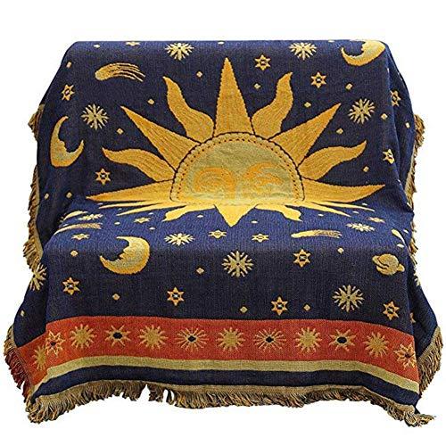 tingtin Sofa deckt ,Decken doppelseitige Baumwolle Handgewebte Sonne und Mond Sterne Muster Sofa Abdeckung weiche warme und Bequeme Sofa Dekoration