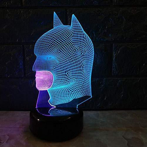 Maskierter Mann Led 3D Visuelle Nachttischlampen 3D Licht Kreative Farbe Touch Lade Schöne 7 Farbwechsel 3D Lampe, Touch