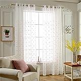 JIAJU Tüll Vorhänge Süß gestickt Tüll Vorhänge Polyester Kinder Zimmer Vorhänge Für Wohnzimmer 1 Stück rosa, 2 * 2.7m
