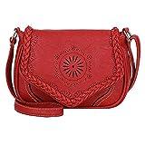 SUCES Retro Leder Tasche Damen Klassisch Elegant Umhängetasche Frauen Hohl Handtasche Mädchen Schultertasche (rot,one size)