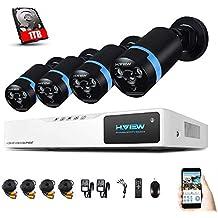 H. View 1080P - Sistema de cámaras de seguridad HD 1080p, cámara exterior tipo bullet de infrarrojos con alcance de 30 m, 8 canales, resolución 1080p, ...