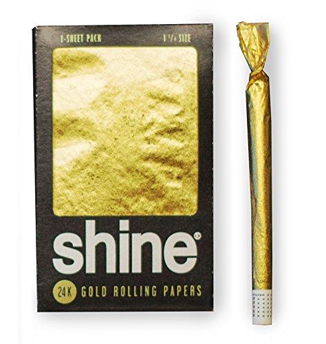 Shine 24K Gold Rolling Papers - Regular Size 1-Sheet Pack - 1x Gold Blunt Paper - Hochwertiges goldenes Blättchen