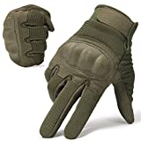 WTACTFUL Classic Touch Screen Hard Knuckle Protective Full Finger Gloves for Motorcycle Motorbike ATV Cycling Bicycle Riding Hunting Work Outdoor Sports Green Size Small B16