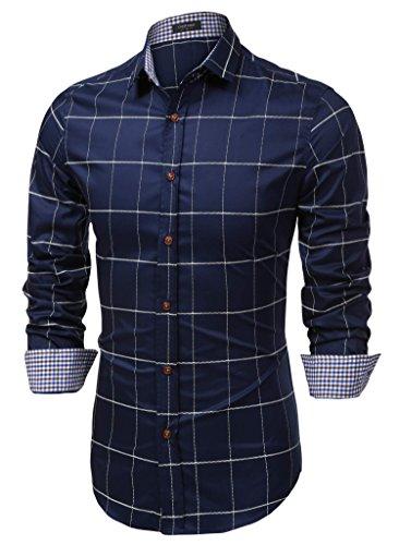 Coofandy camicia casual uomo in cotone a maniche lunghe a quadri blu m