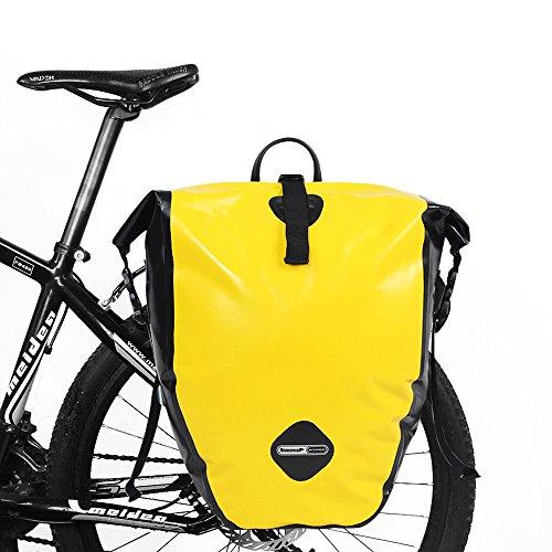 LKN Wasserfest 25L Fahrradtaschen Back-Roller Gepäckträgertaschen Anti-Riss Packtaschen Gelb-1 piece