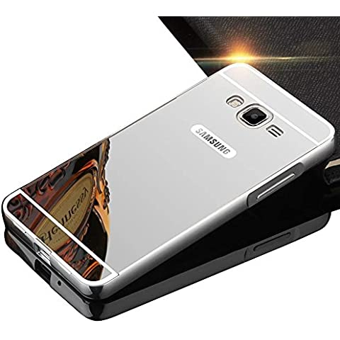 Sunroyal® para Samsung Galaxy Core Prime G360/SM-G360F Funda Duro Híbrido Lujo Carcasa Bumper Case del Metal Aluminio + PC Ultrafina Espejo Efecto Trasero Alta Calidad Hard Shell Cover Plata