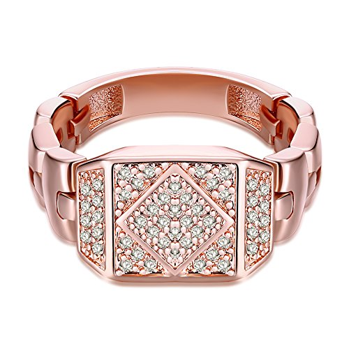 Yazilind Modeschmuck 18K Roségold überzogener Rhombus eingelegtes Cubic Zirconia Ringe Größe 17.2