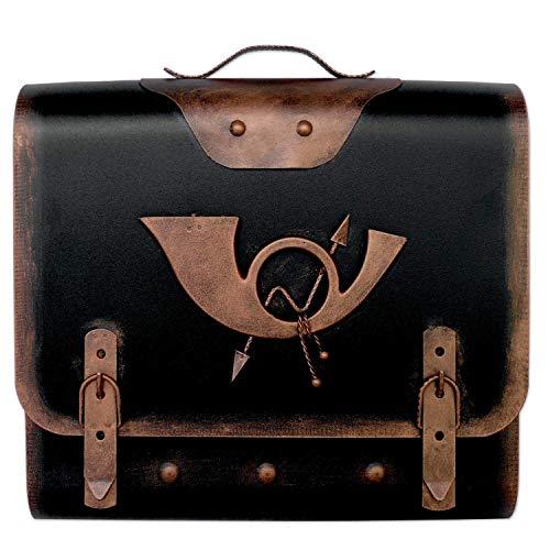Briefkasten alter Schulranzen mit Posthorn im Antik-Look – Schwarz-Kupfer – Entnahme: Links - 2