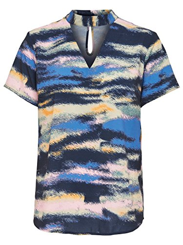 JDY Ladies Short Sleeve Cut Out V Neck Abstract Stripe Print Choker Top