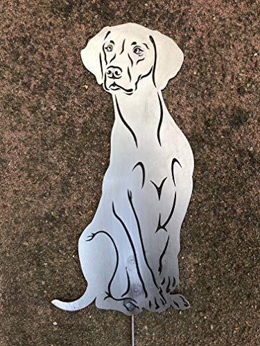 Terma Stahldesign Magyar Vizsla Gartenfigur höhe 30 cm (50 cm mit Spieß), Edelrost Hund, Rostfigur, Rost Figur
