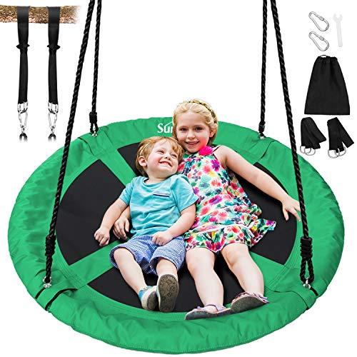 Sunkorto Schaukel Kinderschaukel Outdoor / Indoor 272 kg belastbar Schaukelstuhl Schaukelsitz für Garten Spielzeug Kinder Erwachsener ASTM F963 - Grün