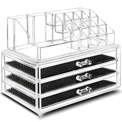 TRESKO Organizer Porta Trucchi, per conservazione dei Trucchi, in Cristallo Trasparente Impermeabile, Organizer per Make Up, Cosmetici, per Bagno, Tavolo (3 Cassetti)
