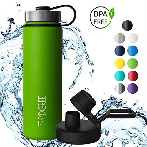 720°DGREE Edelstahl Trinkflasche noLimit 710 ml - Neuartige Thermosflasche +Gratis Sportdeckel - Auslaufsichere Isolierflasche - Perfekte Outdoor Sportflasche für Kinder