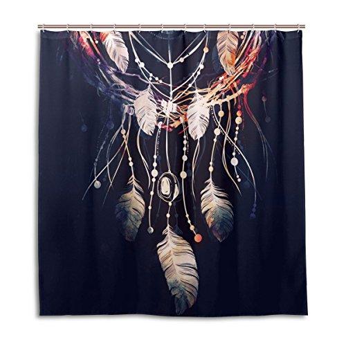 jstel Decor Duschvorhang Dreamcatcher Boho Muster Print 100% Polyester Stoff 167,6x 182,9cm für Home Badezimmer Deko Dusche Bad Vorhänge mit Kunststoff Haken -