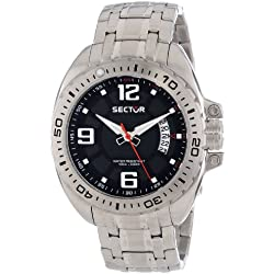 Sector Men's Quartz Watch with Black Dial Analogue Display and Silver Stainless Steel Bracelet R3253573003