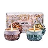 Amexi Duftkerze Jasmin und Flieder 100% Sojawachs Aromatherapie Kerze 40Std 154g Lavendel, Rosen