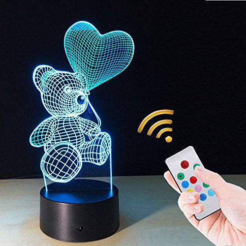 LGZOOT LED 3D Nachtlicht Touch Würfel Ballon Cub Cartoon Kreativ Schreibtischlampe Schlafzimmer Nachttisch Nachtlichter,Control