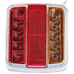 Fajerminart LED Remorque Feux Arrière, 12V Arrière Feux Remorque LED De Lumière Avec Plaque D'immatriculation Lampe, Convient Pour RV/Camions/Caravanes/Feux Arrière De Remorque(Ampoule de 10 LED)