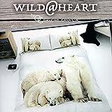 Oso Polar edredón y funda de almohada (cama individual), diseño Wild @ Corazón Oso Polar 3d impresión Juego de funda nórdica y fundas de almohada...