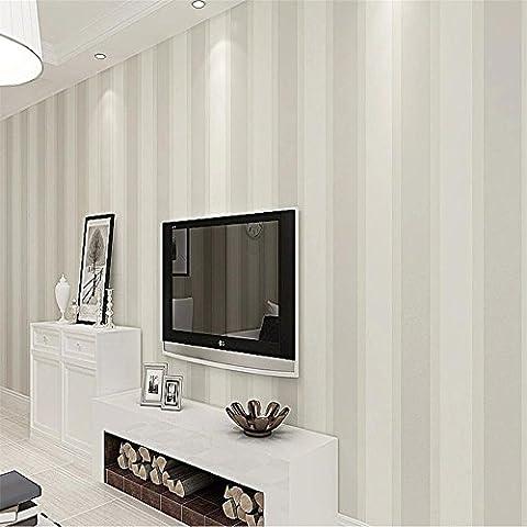 CLOERE Serie simple, rayas verticales telas no tejidas papel tapiz y pared decoración para el hogar (ornamento verde) , white