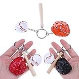 BraveWind Mini Baseball-Schläger Sport-Handschuh, Mode Kreativ Schlüsselanhänger mit Keyring Schlüsselanhänger Handtasche für Handy, Rot, 3 Stück