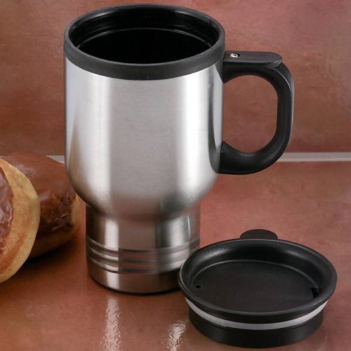 Maxam 14oz Stainless Steel Travel Mug Plastic Liner Slider Lid Tapered Bottom Practical by Maxam Plastic Liner Travel Mug