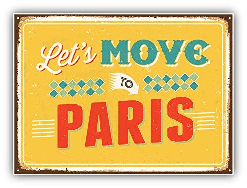 Paris-art-home-dekor (Let's Move To Paris Vintage Travel Label Art Decor Vinyl Sticker Aufkleber 12 x 10 cm)