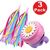 Lapus 1 Pack Kids Bike Bell and 2 Pack Kids Bike Streamers Bicycle Handlebar Streamers for Children\'s Bike Accessories (Pink & Purple)