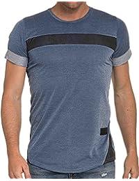 Celebry tees - Tshirt bleu denim avec empiècements effet cuir