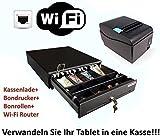 Kassen-Set: MINI Geldlade 330x330x100mm, Bondrucker, WLAN Router