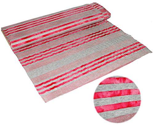 1 m * 1,25 m - Jersey Stoff - Stretch - Baumwolle - grau rot - Streifen / gestreift Stoffe Nähen - Ringeljersey - Jerseystoff - Streifenstoff / Meterware - Shirt / Mütze (Wolle, Streifen Feine)