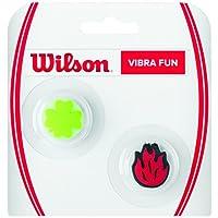 Wilson Reductor de vibraciones de llama y trébol de la suerte para raqueta, Vibra Fun, Pack de 2, Verde/Rojo, WRZ537500