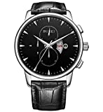 BUREI Herren Armbanduhr Schwarzem Ziffernblatt mit Tag Datum Kalender Saphirglaslinse und Echtes Lederband