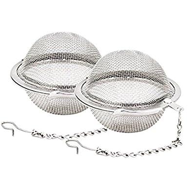 Qinlee 2Pcs Inoxydable Passoire Engrener Boule Acier Tea Filtre Squeeze Verrouillage Boule à thé Infuseur à thé Tea Infuser Acier Inoxydable 4.5cm