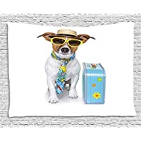 VTXWL Dog Tapestry, Traveler Funny Dog Dressed as a Tourist with Hat Glasses Necktie and a Floral Suitcase, Wall Hanging for Bedroom Living Room Dorm, 80 W X 60 L Inches, Multicolor