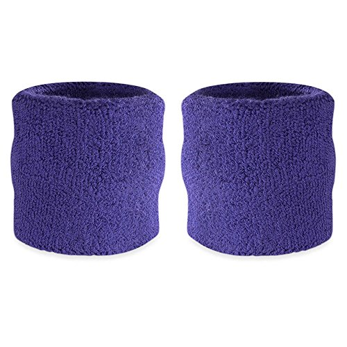 Suddora Wrist Sweatband - Athletic Cotton Terry Cloth Wristband For Sports (Pair) (Purple)