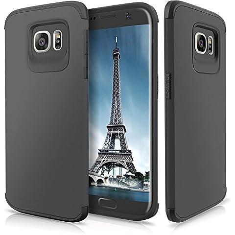Funda Galaxy S7 Edge,SAMKER [Ultra Delgado] [Resistente Impacto] [ProtecciÓN Esquina] Armadura Doble Capa HÍBrido [Tpu Suave & Pc Duro] Cover Case para Galaxy S7 Edge –Gris Oscuro