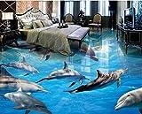 Weaeo Benutzerdefinierte Wandbild 3D Bodenbelag Pvc Selbstklebende Tapete Sea World Delfin Bild Home Decor Malerei 3D Wandbilder Tapete-120X100Cm
