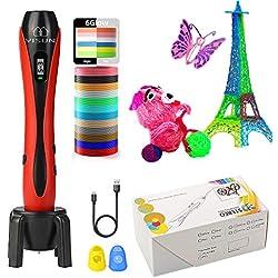 Lápiz de impresión 3D para niños con pantalla LCD, con filamento PLA de 1,75 mm para niños, adultos, gateo, dibujo, arte y obras hechas a mano rojo