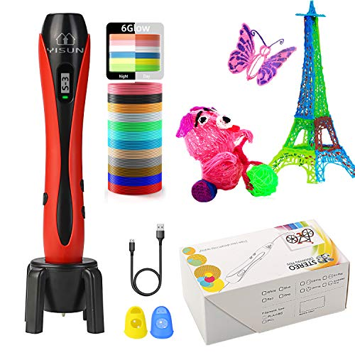 3D Stifte, 3D Pen, 3D DIY Druckstift für Kinder mit LCD Display, mit 1,75 mm PLA Filament für Kinder, Erwachsene, Kritzelei, Zeichnung und Kunst & handgefertigte Werke (Rot)