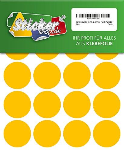 80adhesivos, 40mm, amarillo, funda de PVC, resistente a la intemperie, LabelOcean círculos puntos Pegatinas