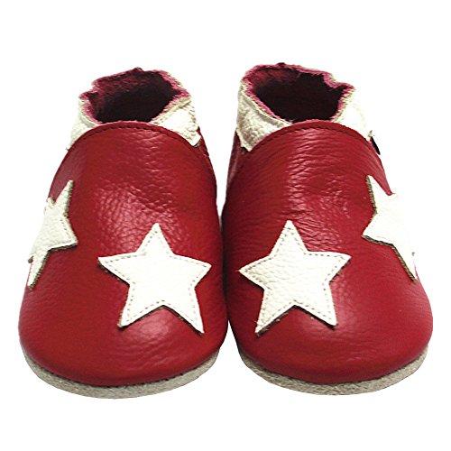 Mejale Chaussons Enfant Bébé en Cuir Doux-Chaussons Cuir Souple-Chaussures Premiers Pas-Dessin animé Étoiles Rouge