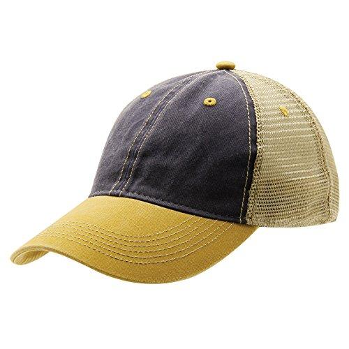 Ouray Sportswear Unisex-Erwachsene Legend Vintage Wash Trucker Cap Hut, Navy/Khaki/Whiskey, Einstellbar Athletic Vintage Cap