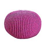Invicta Interior Design Pouf LEEDS 50 cm pink Bezug aus Strick Garn Sitzgelegenheit Fußhocker Sitzpouf gepolstert Sitzkissen