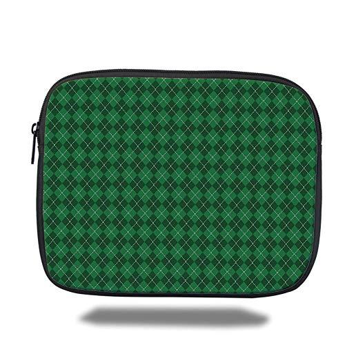 Tablet Bag for Ipad air 2/3/4/mini 9.7 inch,Irish,St. Patricks Day Celebration Inspired Vintage Pattern Argyle Tartan Dots Decorative,Green Dark Green White - Argyle Messenger